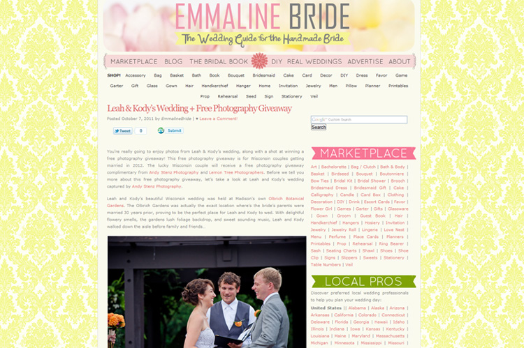 madison wedding photographer andy stenz featured on emmaline bride