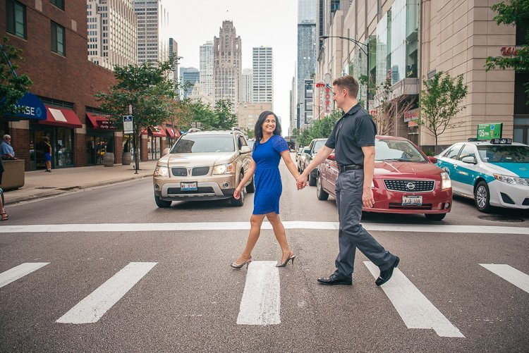 k and k's chicago engagement session along the riverfront